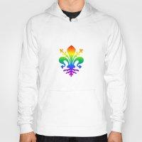 fleur de lis Hoodies featuring Rainbow Fleur-de-Lis by Cool Prints