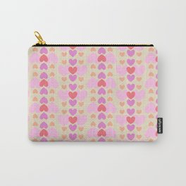 Hearts arranged in a repeating pattern in different colors. Carry-All Pouch