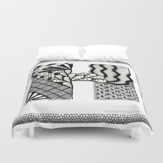 Zentangle H Monogram Alphabet Illustration Duvet Cover