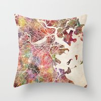 boston map Throw Pillows featuring Boston by MapMapMaps.Watercolors