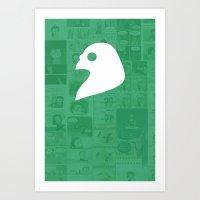 The Pigeon Gazette Logo - Strip BG  Art Print