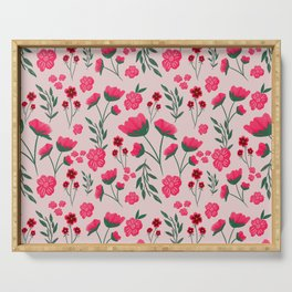 Pink Poppies Seamless Illustration Serving Tray