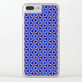 Flower of Life Blue Pattern Clear iPhone Case
