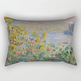 Claude Monet - Flower Beds at Vetheuil Rectangular Pillow