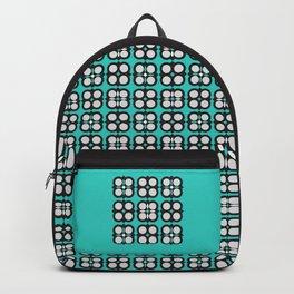 Geometric circle cross flowers check Cyan Backpack