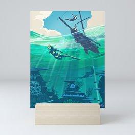 Retro Travel Coral Reef Diver Mini Art Print