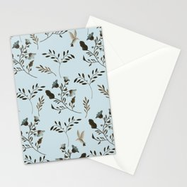 Pale Blue Bluebells and Bluebirds Floral Pattern Flowers in Blue and Bark Brown Stationery Cards