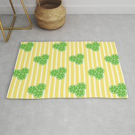 Lime Slices on Yellow and White Stripes Rug