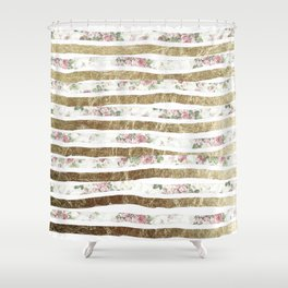 Girly Pink Roses and Faux Gold Brushstrokes Shower Curtain