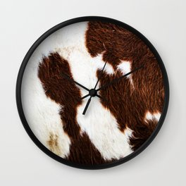 Cowhide Brown Spots Wall Clock