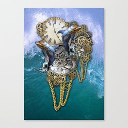 Steampunk Dolphin Time Canvas Print