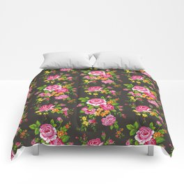 Vintage Floral with Pink Roses Comforters
