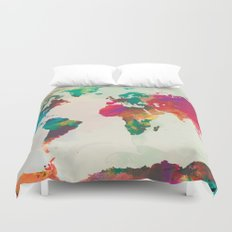 Watercolor World Map Duvet Cover