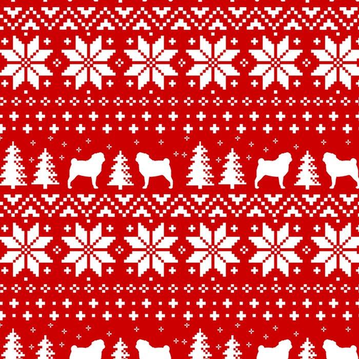 Christmas Sweater Pattern.Pugs Christmas Sweater Pattern Leggings