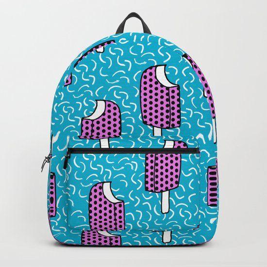Bite Me - popsicle throwback 80s style memphis dots pattern trendy hipster summer ice cream Backpack
