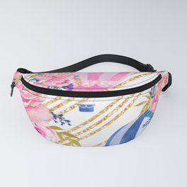Floral HotAir Balloons Fanny Pack