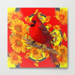 RED CARDINAL YELLOW SUNFLOWERS RED ART Metal Print