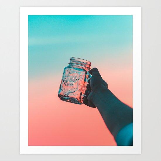 Mason jar sunset Art Print