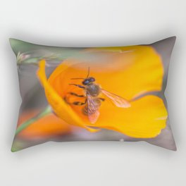 Bee in Poppy Rectangular Pillow