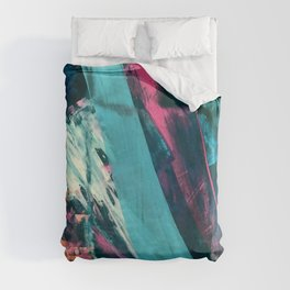 Wild [7]: a bold, colorful abstract mixed-media piece in teal, orange, neon blue, pink and white Duvet Cover