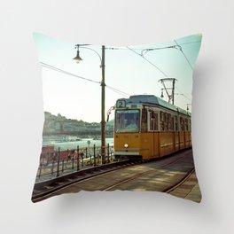 Retro Tram 2 in Budapest. Yellow tram photography. Throw Pillow