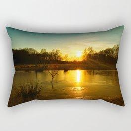 Winterlandscape with sunset Rectangular Pillow