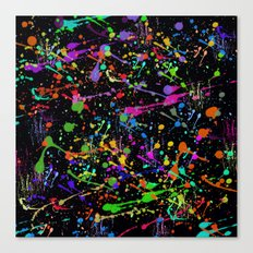 Paint Splatter 2 - Black Canvas Print