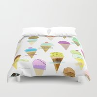 ice cream Duvet Covers featuring Ice cream  by maria carluccio