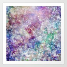 Rainbow Stars Space Galaxy Pattern Art Print