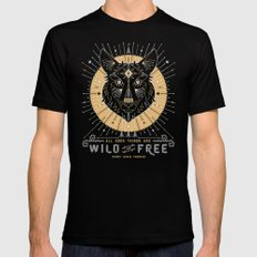 Wild & Free Wolf – Gold & Grey Black Mens Fitted Tee 2X-LARGE