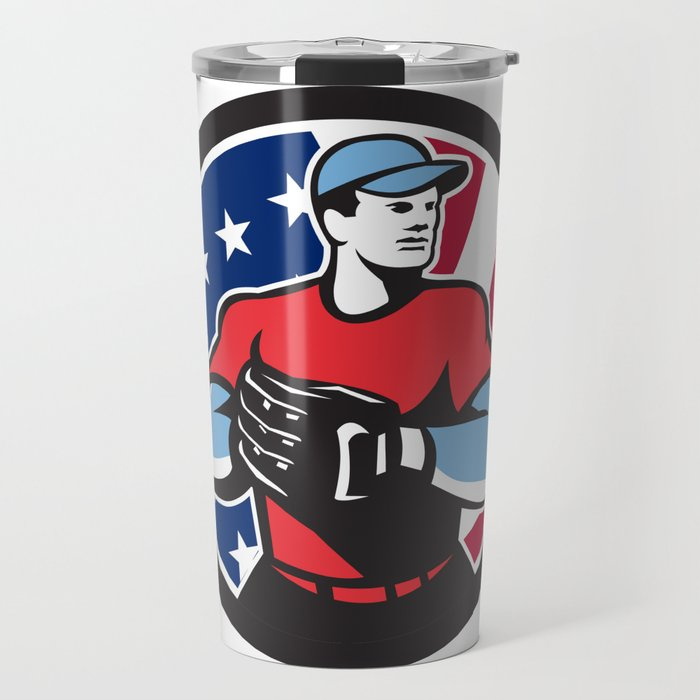 American Baseball Pitcher USA Flag Icon Travel Mug