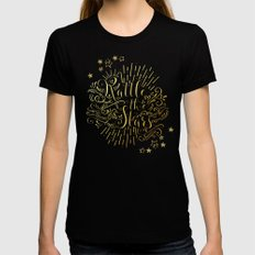 Rattle The Stars MEDIUM Black Womens Fitted Tee