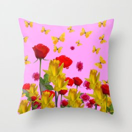 DECORATIVE YELLOW BUTTERFLIES, RED ROSES, DAFFODILS SPRING FLOWERS Throw Pillow