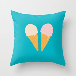 Ice Cream Cone Turquoise Throw Pillow