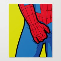 the secret life of heroes Canvas Prints featuring The secret life of heroes - SpiderItch by Greg-guillemin