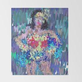 Wonder Type Woman - Abstract Pop Art Comic Throw Blanket