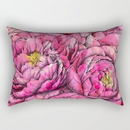 Peonies three pink Rectangular Pillow