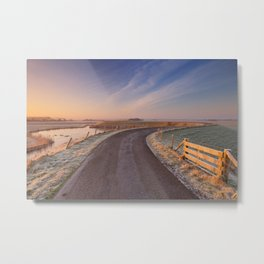 I - Typical Dutch landscape with a dike, in winter at sunrise Metal Print