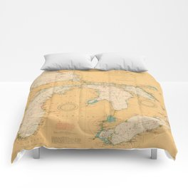 Vintage Map of The Great Lakes (1921) Comforters