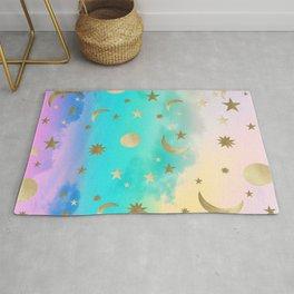 Pastel Rainbow Starry Sky Moon Dream #1 #decor #art #society6 Rug