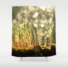 Sleeping Snail In The Moss... Shower Curtain