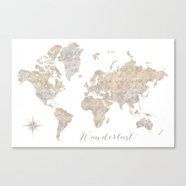 Wanderlust watercolor world map with compass rose Canvas Print