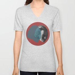 Edna St. Vincent Millay Portrait - red and blue Unisex V-Neck