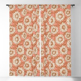 Coral Sunflowers Blackout Curtain