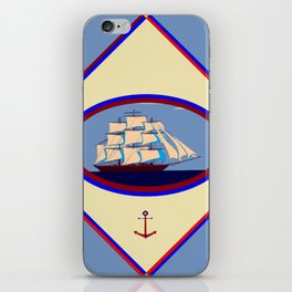 A Nautical Scene with Clipper Ship with Country Blue Background iPhone Skin