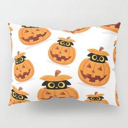 Cute Kitty Hidden Inside a Pumpkin Pillow Sham
