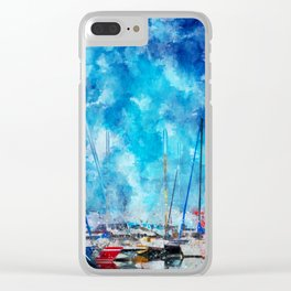 July Lines In Watercolors Clear iPhone Case