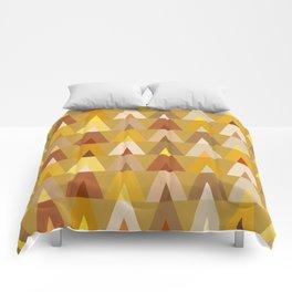 Geometric Triangles | mustard yellow taupe Comforters