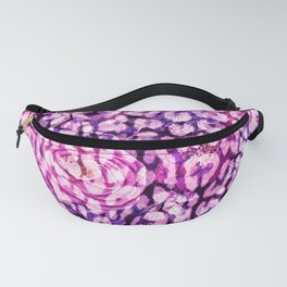 Pink leopard floral, animal print flowers in magenta and purple Fanny Pack