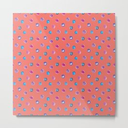 Living coral watercolor blue turquoise and violet polka dot pattern Metal Print